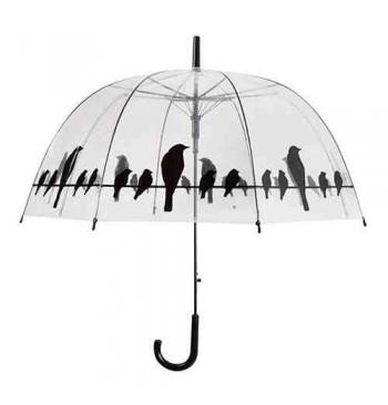 Paraguas transparente con motivo pájaros