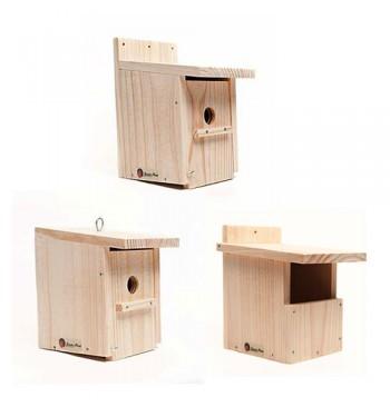 Kit cajas nido de madera (para pequeños jardines y patios)