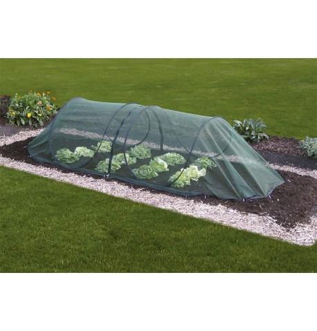 Tunel de cultivo con malla anti insectos y pájaros