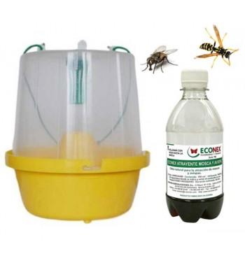 Trampa para moscas y avispas + cebo atrayente