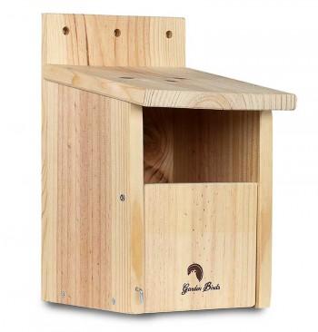 Caja nido de madera para petirrojo y lavandera