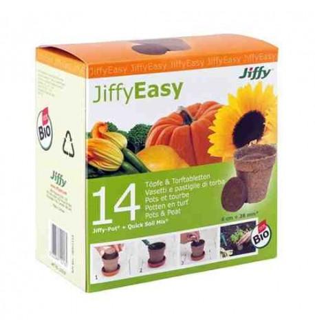 Jiffypot 14 macetas bio + 14 pastillas sustrato