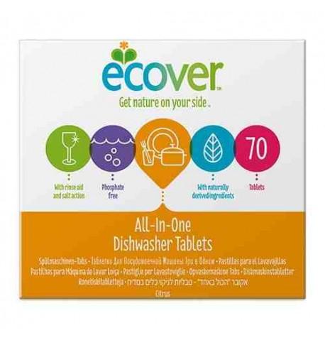 Pastillas ecológicas para lavavajillas 3 en 1 Ecover 70 unid.